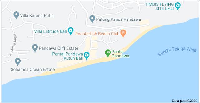 map pandawa beach bali indonesia