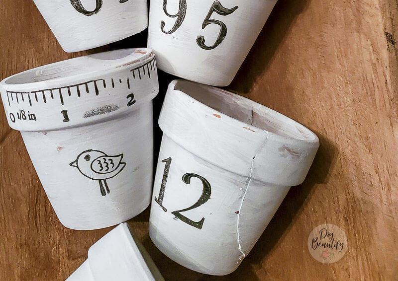 vintage stamps on seedling pots