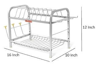 Home Creations 2 Layer Kitchen Dish Rack : (Steel Rack for Kitchen Utensils)