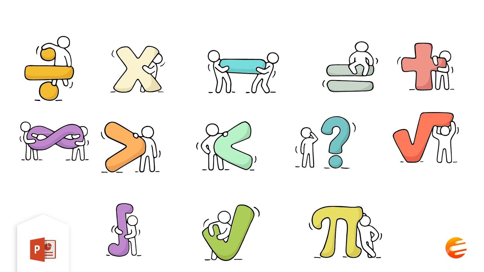 بوربوينت العلامات الحسابية في مادة الرياضيات