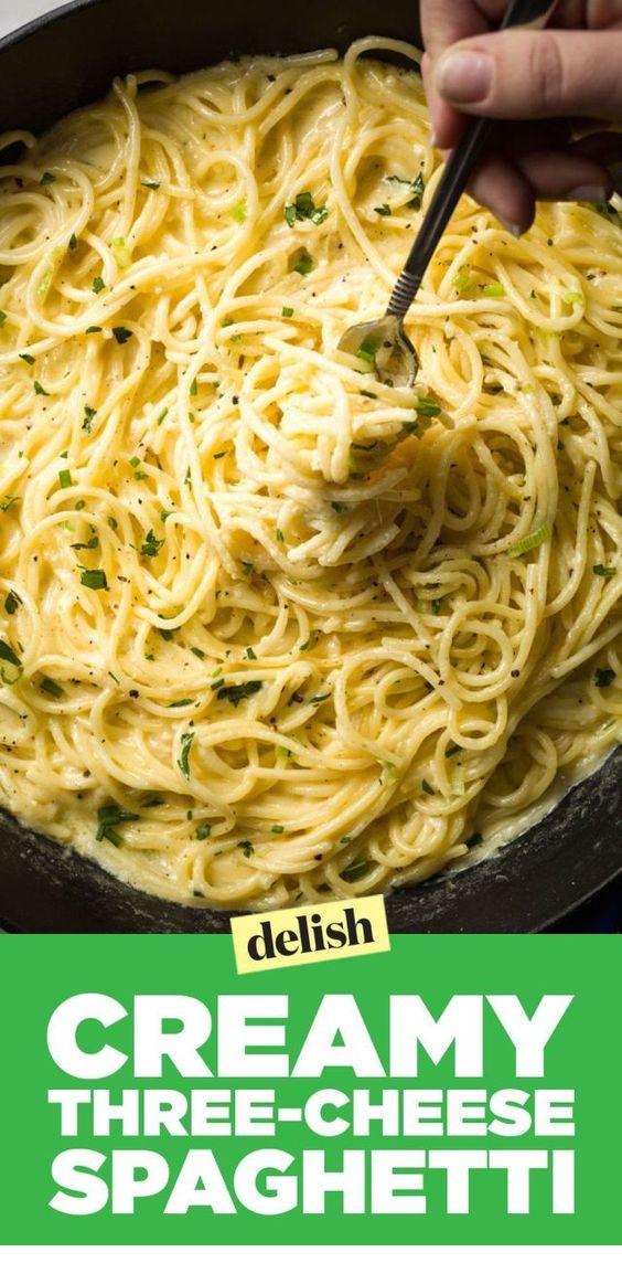 Creamy Three-Cheese Spaghetti