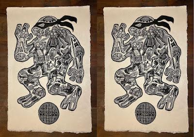 """Teenage Mutant Ninja Turtles """"Turtle Power"""" Linocut Print by Brian Reedy x Bottleneck Gallery"""