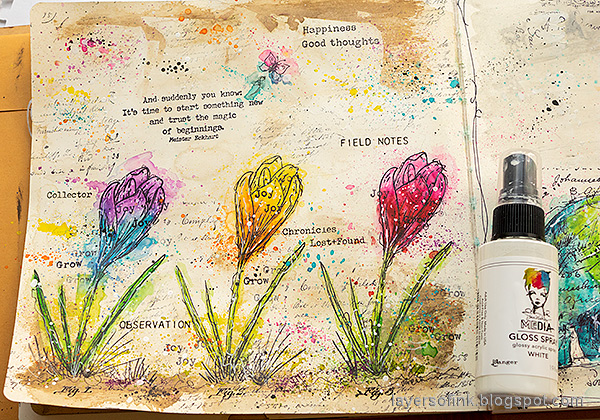 Layers of ink - Colorful Floral Crocus Tutorial by Anna-Karin Evaldsson. Splatter with white gloss spray.