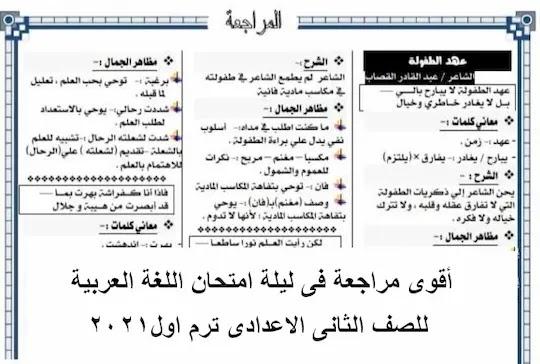 مراجعة عربى تانية اعدادى ترم اول 2021