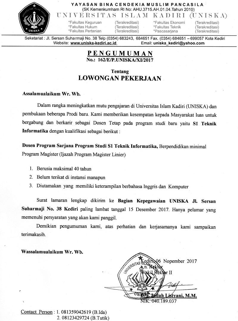 Lowongan Dosen Tetap Teknik Informatika Universitas Islam Kadiri (UNISKA)