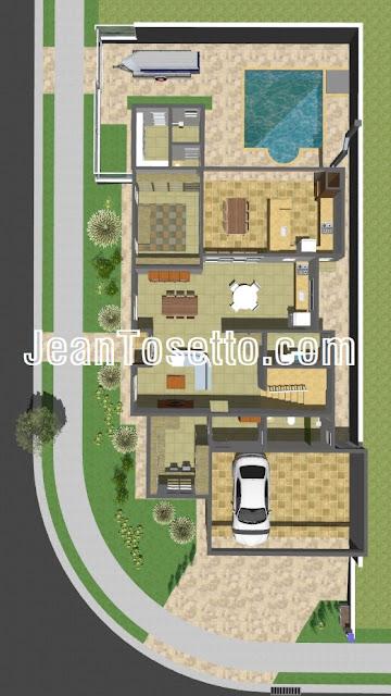 O pavimento térreo conta com 191,86 m², incluindo garagem coberta para dois carros grandes, vestíbulo, escritório, lavabo, salas de estar e jantar, cozinha, lavanderia, varanda gourmet com acesso para sala de TV, banheiro externo, depósito e piscina.