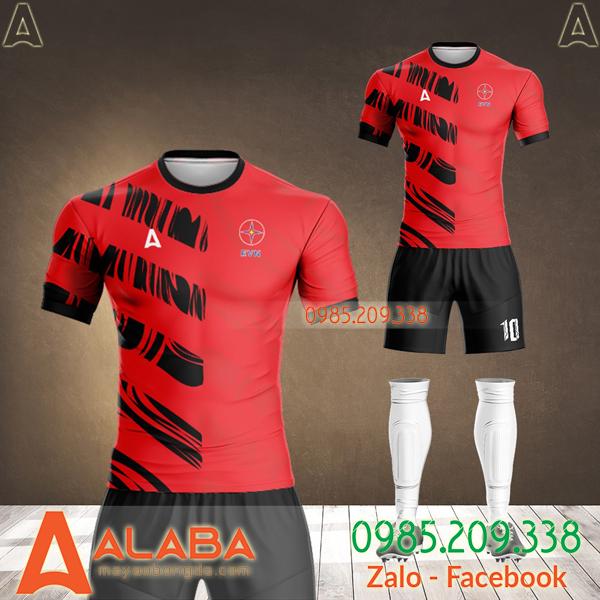 áo bóng đá thiết kế công ty EVN màu đỏ