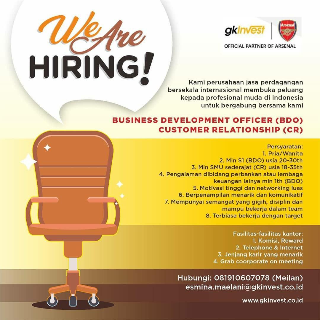 Lowongan Kerja BDO & CR GK invest Bandung Oktober 2020