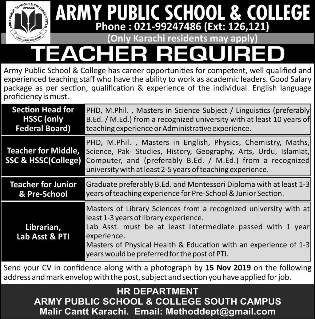 Army Public School & College Teaching Staff Jobs 2019
