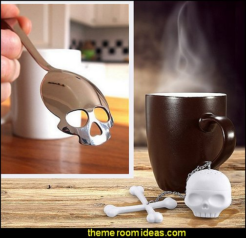Skull Tea Infuser and Skull Sugar Spoon halloween tableware halloween party decorations