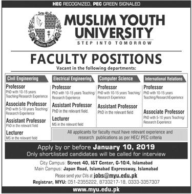 Jobs Vacancies In Muslim Youth University 07 January 2019