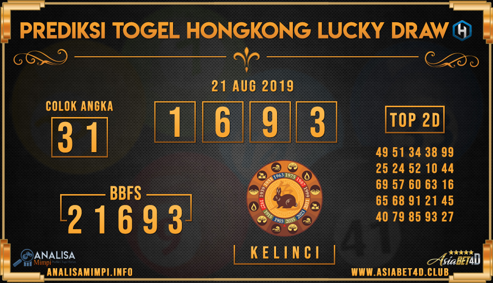 PREDIKSI TOGEL HONGKONG LUCKY DRAW ASIABET4D 21 AUG 2019