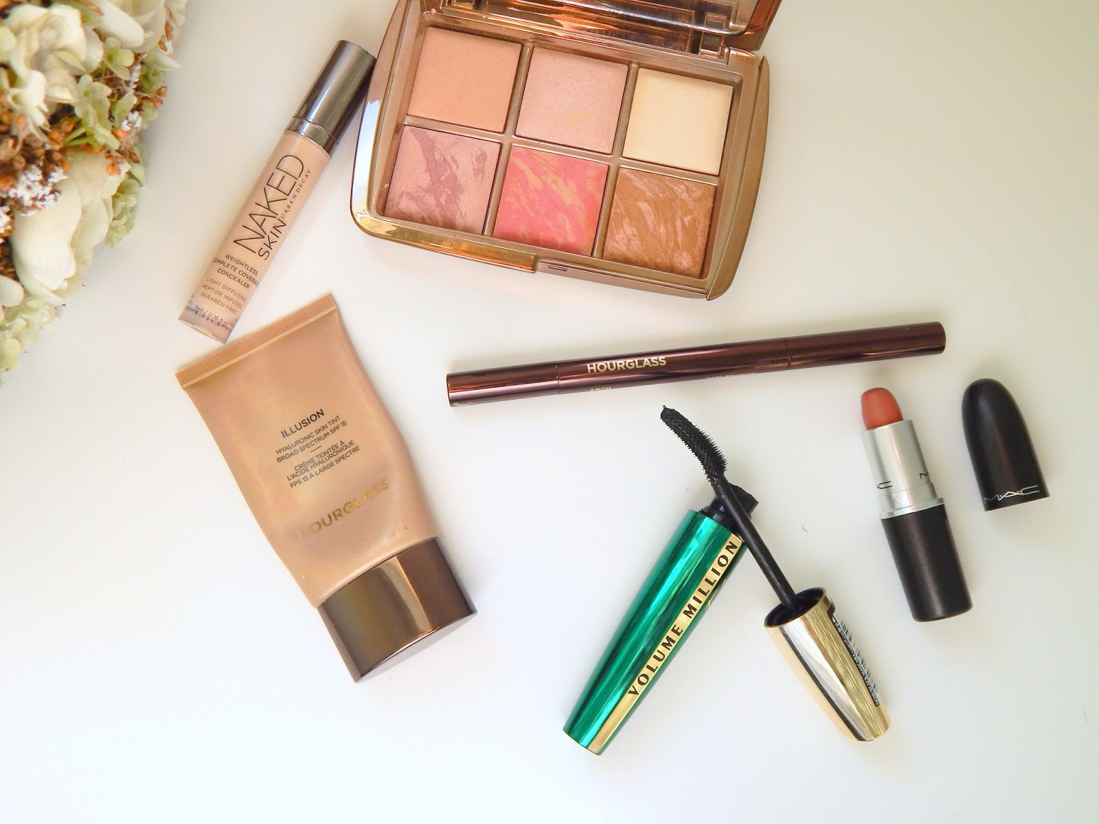 Products for a no makeup look ft Hourglass, Urban Decay, L'oreal and Mac