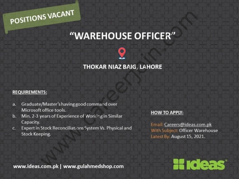 Ideas By Gul Ahmed Jobs Warehouse Officer