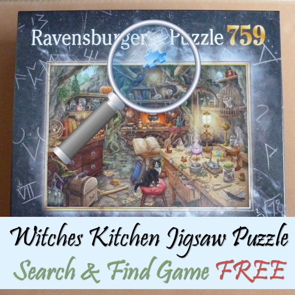 Ravensburger Witches Kitchen Jigsaw Puzzle Exit Puzzles Escape Room Search and Find Fun Game Halloween Fantasy Witch
