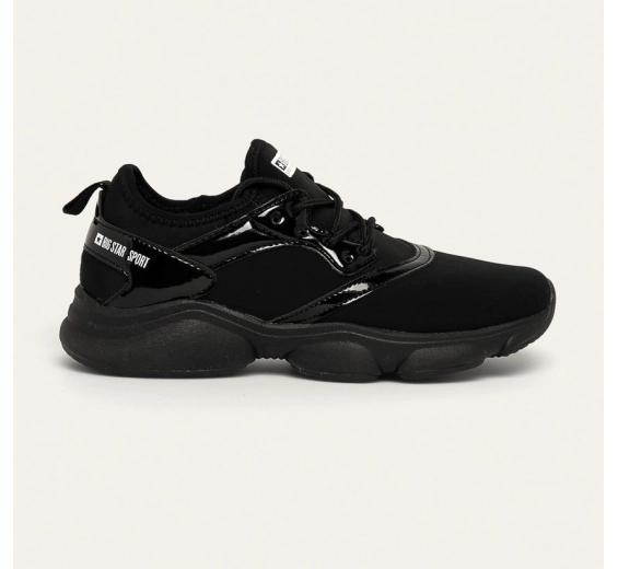 Big Star - Pantofi dama sport negri din material textil cu talpa cu platforma