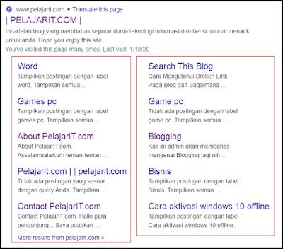 Contoh Google Sitelink