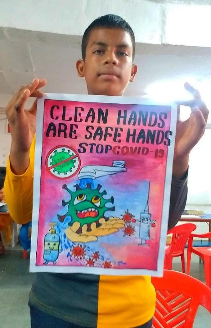 बाल निकुंज : चित्रकला के माध्यम से स्टूडेंट्स ने दिया कोरोना से बचाव का संदेश