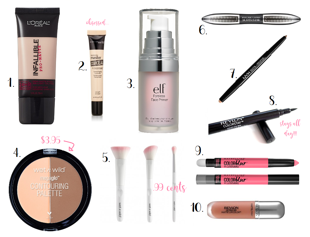 My Top Ten Favorite Drugstore Makeup Products
