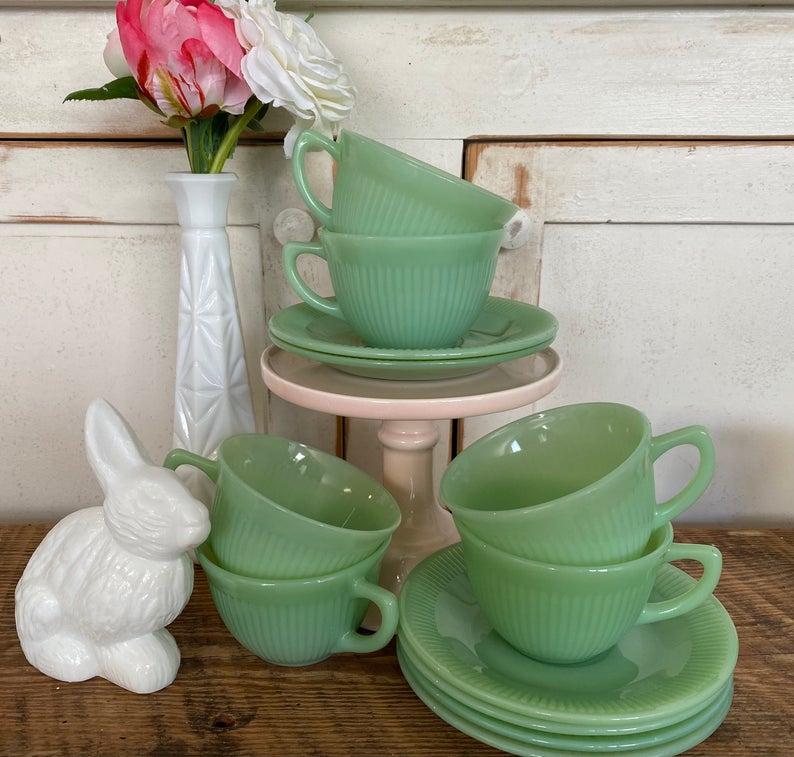 Vintage jadeite cups and saucers