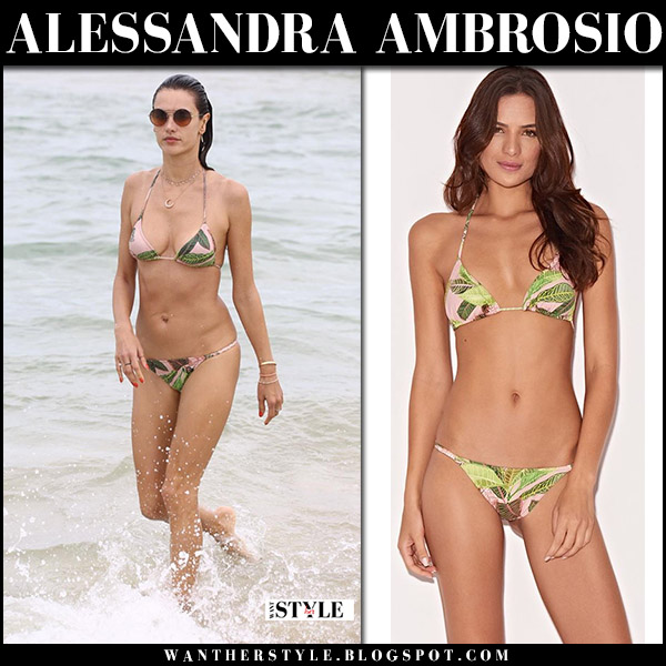 Alessandra Ambrosio in green leaf print bikini triya on the beach model summer style brazil