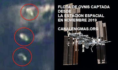 Flota de ovnis captados desde la Estacion Espacial