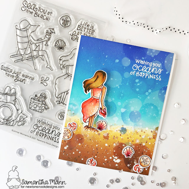 Walking on the Beach Card by Samantha Mann | Summer Moments Stamp Set and Bokeh Stencil by Newton's Nook Designs #newtonsnook