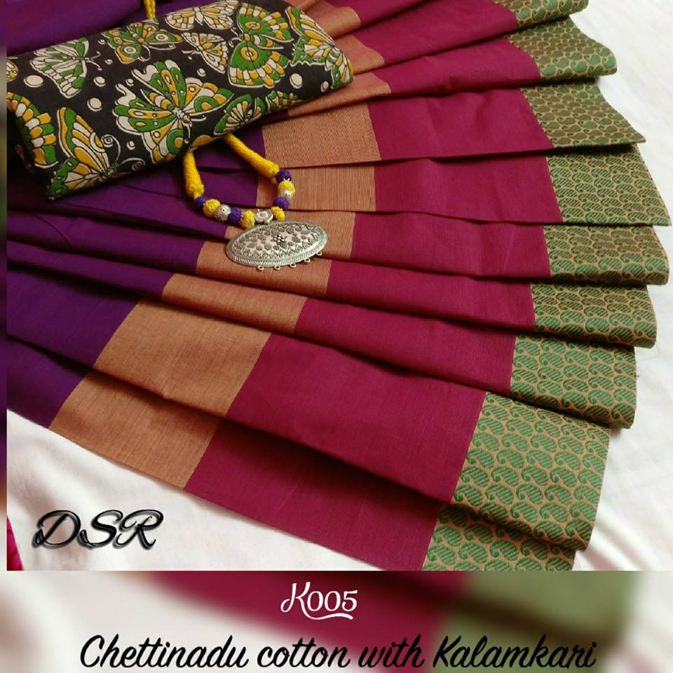 5f94f8c7ab DSR chettinad cotton sarees with kalamkari blouse price- rs750 each moq-  10pcs mail at indigomartcollections@gmail.com