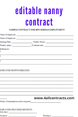 editable nanny contract template word