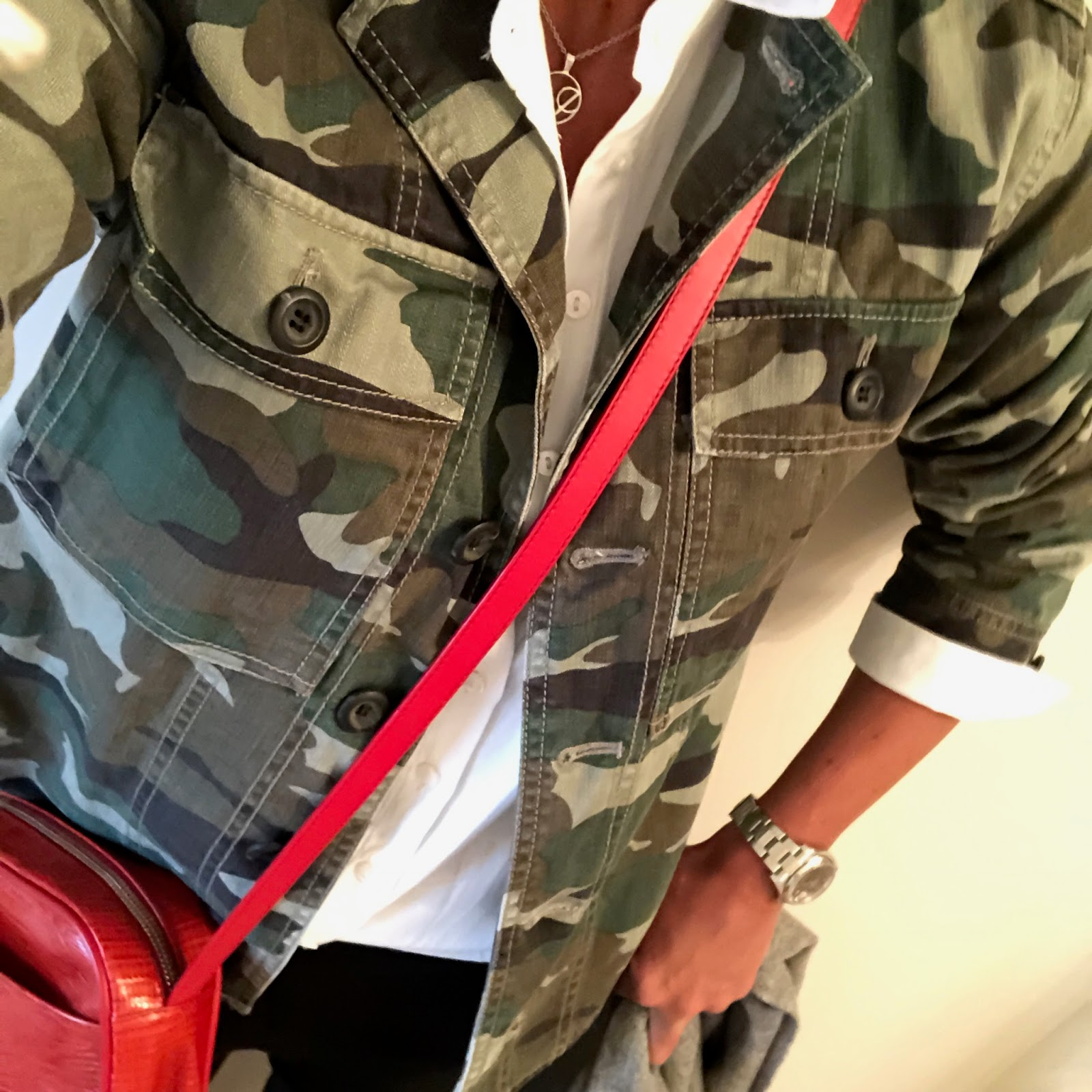 my midlife fashion, j crew camouflage shacket, uterque mock croc cross body bag, j crew cigarette pants, baukjen coco shirt, golden goose superstar low top leather trainers
