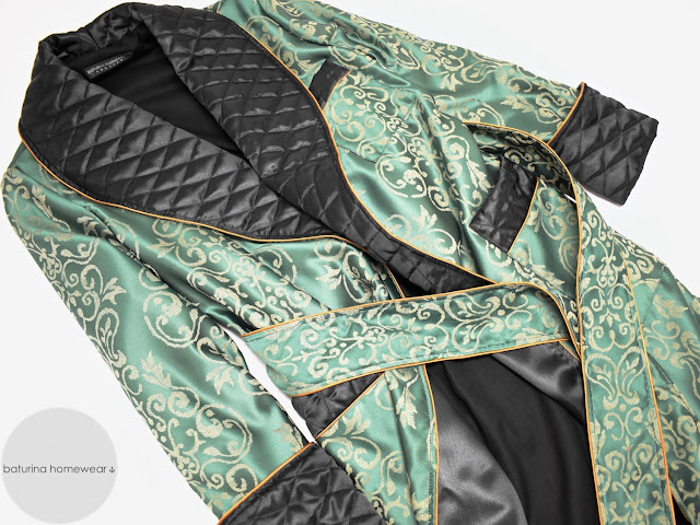 mens green paisley silk dressing gown quilted smoking jacket robe