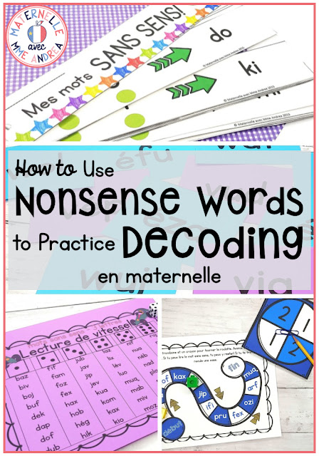 It can be challenging to teach your maternelle students how to read during lecture guidée. It can be tricky for them to learn to decode words, because often in French, letters are muette or there are sons composés. Check out this blog post to learn how nonsense words can help with that!