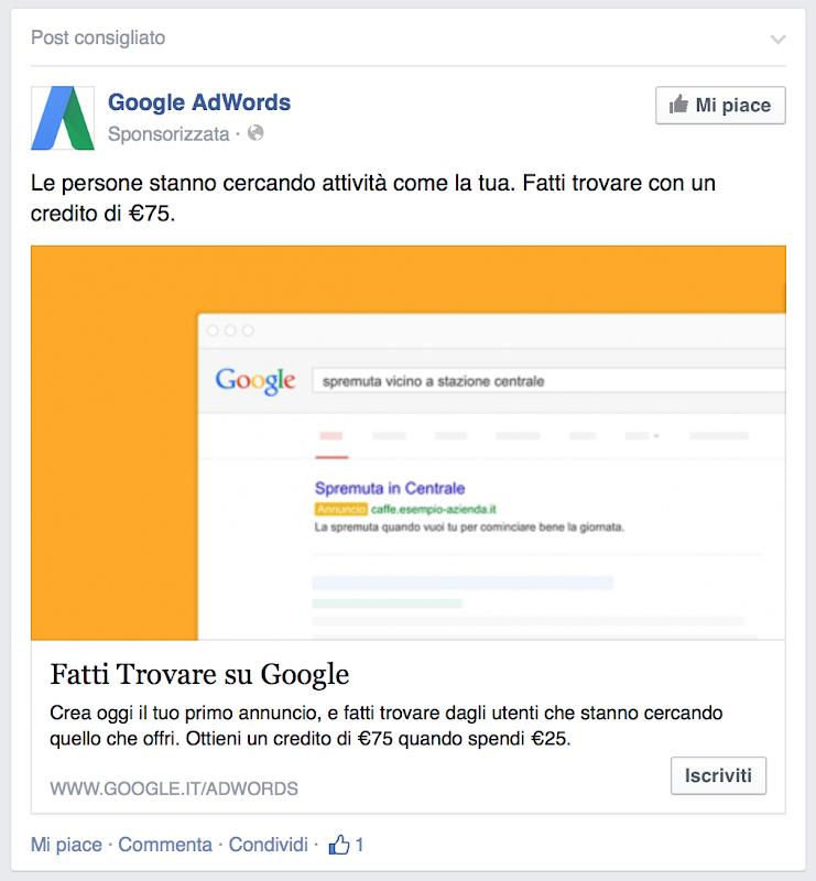 Google fa pubblicità su Facebook?