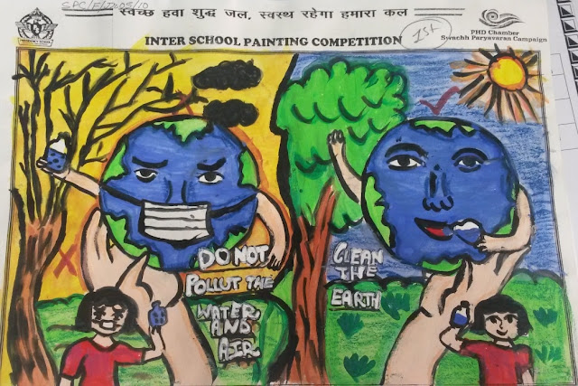 One of the paintings by a School Student on the theme Swachh Paryavaran