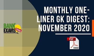 Monthly One-Liner GK Digest: November 2020