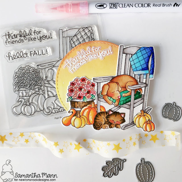 Fall Dog and Cat Friendship Card by Samantha Mann | Fall Friends Stamp Set and Circle Frames Die Set by Newton's Nook Designs #newtonsnook