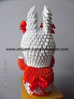 Czerwony zajączek - origami modułowe.