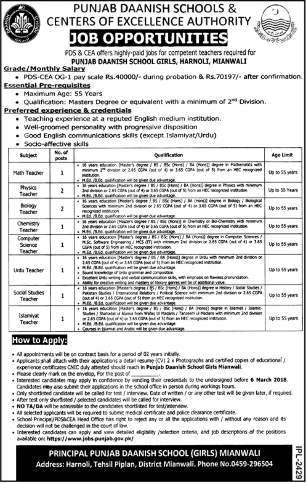 Jobs In Punjab Daanish School for Teachers 2018