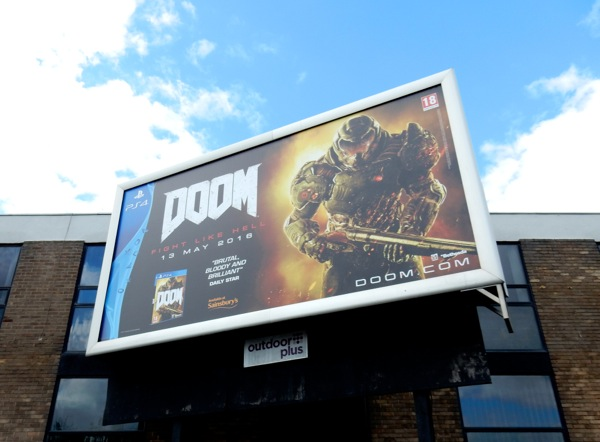 Doom video game billboard UK