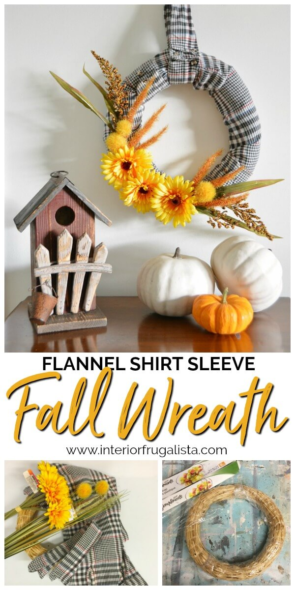 How to make an easy fall wreath with recycled flannel shirt sleeves and dollar store fall floral picks. Even the shirt collar is a wreath hanger! #flannelshirtupcycle #diyfallwreath