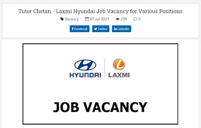 Laxmi Hyundai Job Vacancy for Various Positions