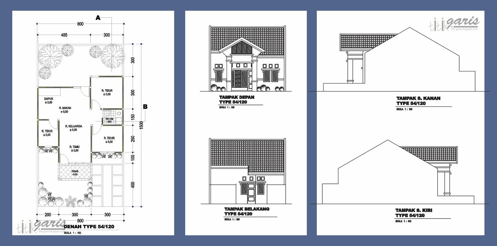 kumpulan gambar denah dan tampak berbagai macam tipe rumah  Rumah Garis