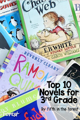 Pin image titled 'Top 10 Novels for 3rd Grade' with pictures of a pile of 10 novel on the 3rd grade level