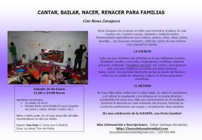 PRÓXIMOS TALLERES ROSA ZARAGOZA EN MADRID