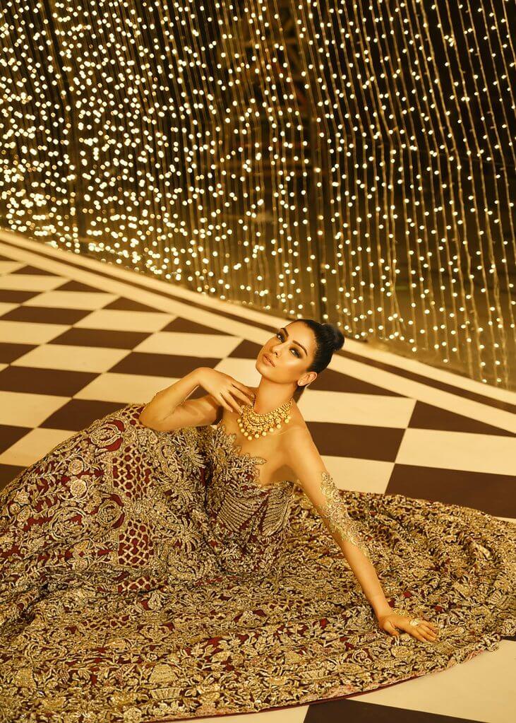 Maroon Pakistani bridal gown Anastasia by Sara Rohale Asghar