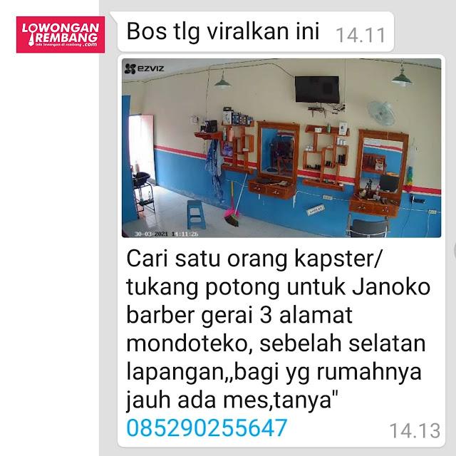 Lowongan Kerja Kapster Tukang Potong Janoko Barbershop Mondoteko Rembang