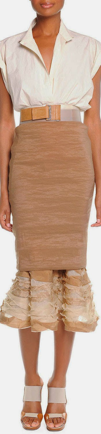 Donna Karan Slim Skirt with Ruffle Hem
