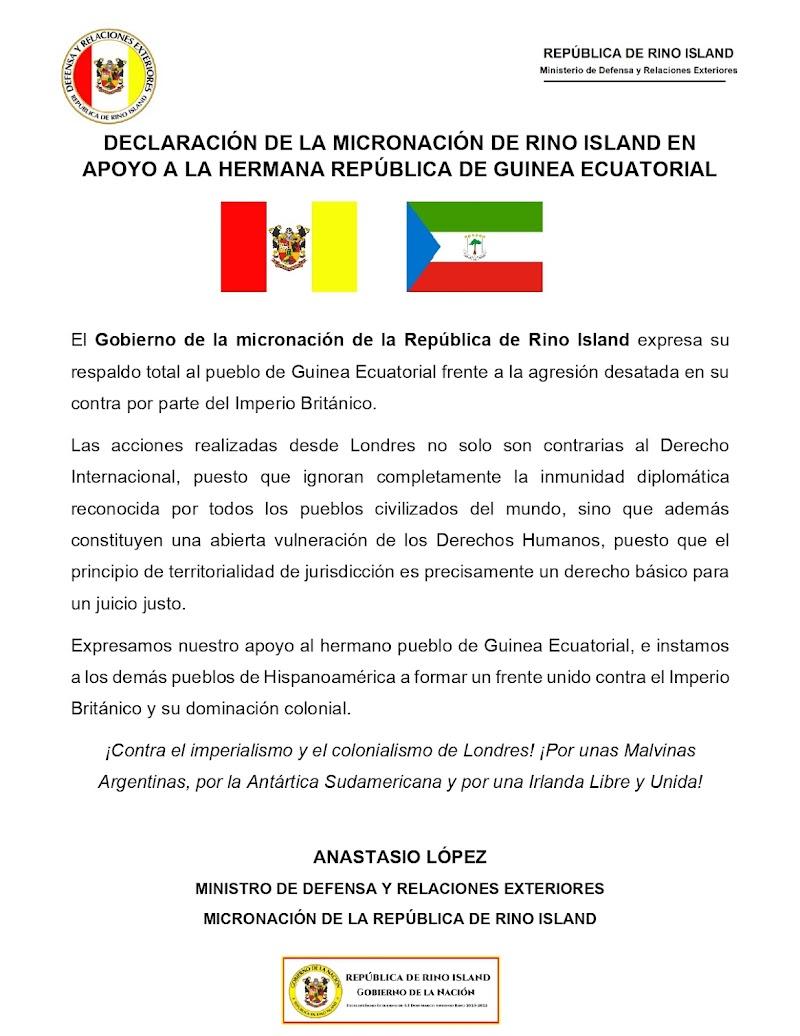 DECLARACIÓN DE LA MICRONACIÓN DE RINO ISLAND EN APOYO A LA HERMANA REPÚBLICA DE GUINEA ECUATORIAL