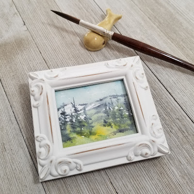 A watercolor warm up in white frame. © 2021 Christy Sheeler Artist