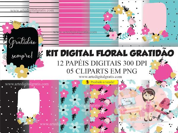 KIT DIGITAL FLORAL GRATIDÃO - 1K INSTGRAM